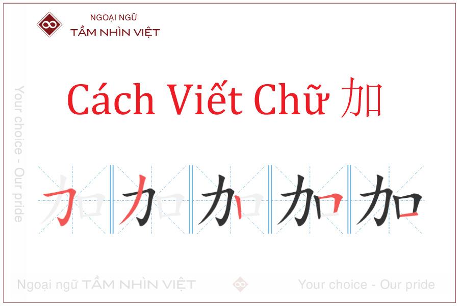 Hướng dẫn viết chữ cố lên tiếng Hoa chữ jia
