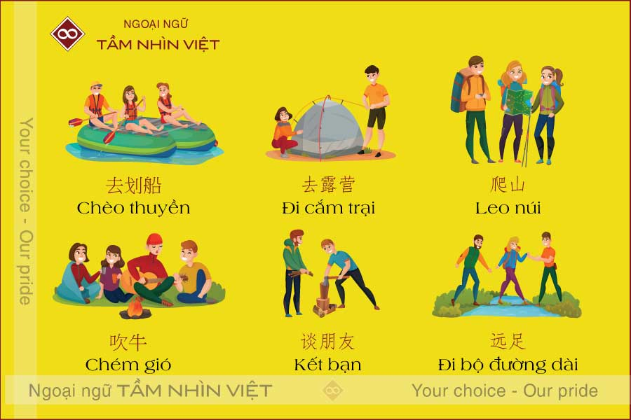 Hoạt động du lịch bằng tiếng Trung
