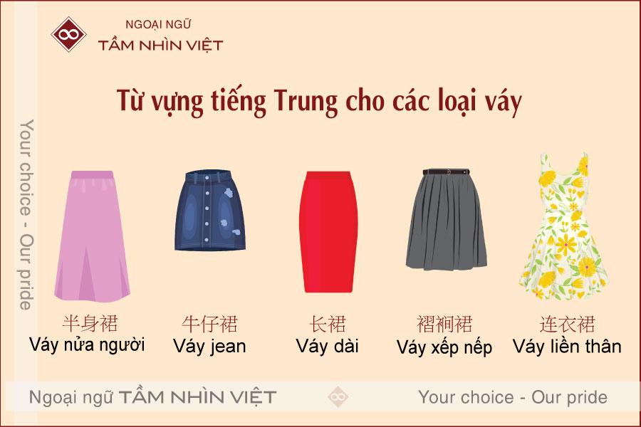 Phân biệt các loại váy bằng tiếng Trung