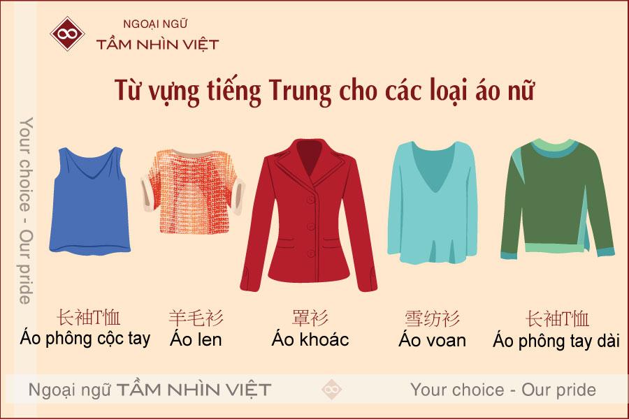 Từ vựng các loại áo trong tiếng Trung