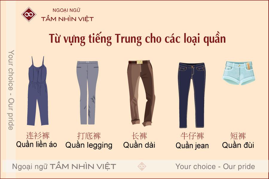 Từ vựng các loại quần trong tiếng Trung