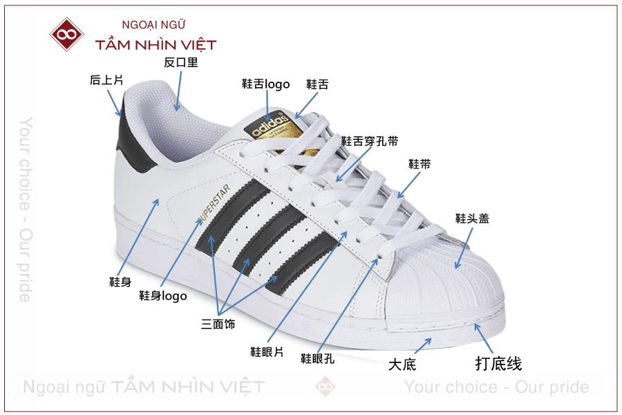 Các bộ phận trong giày bằng tiếng Trung