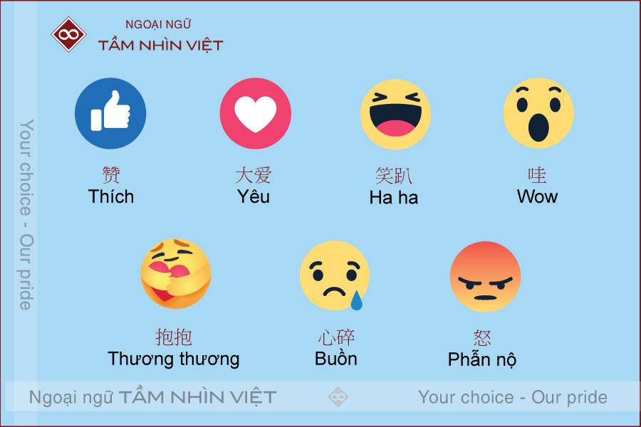 7 biểu tượng cảm xúc trên Facebook bằng tiếng Trung