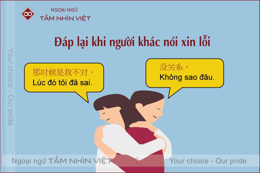 Trả lời câu xin lỗi bằng tiếng Trung Quốc
