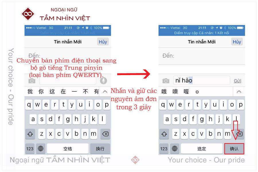 Cách gõ thanh điệu pinyin có dấu trên điện thoại tiếng Trung