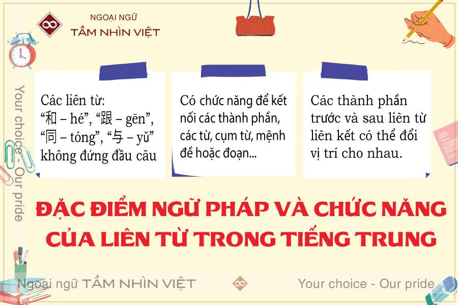 Đặc điểm ngữ pháp của Liên từ tiếng Trung