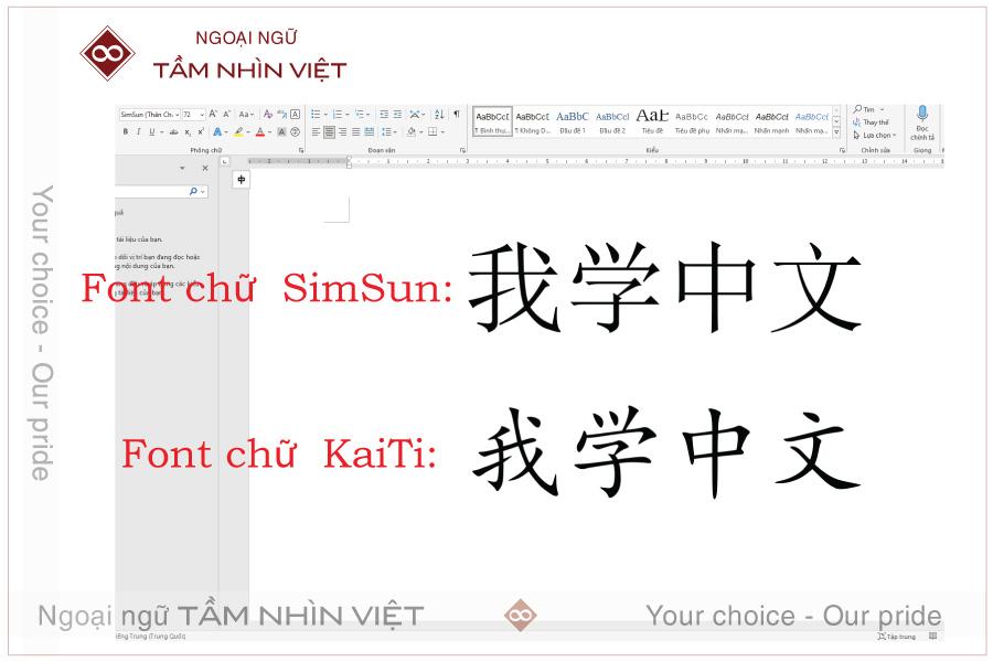Font chữ Trung trên máy tính