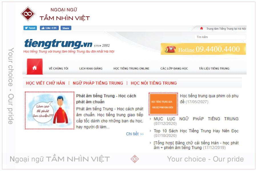 Học 6 quyển giáo trình Hán ngữ từ trang tiengtrung. vn