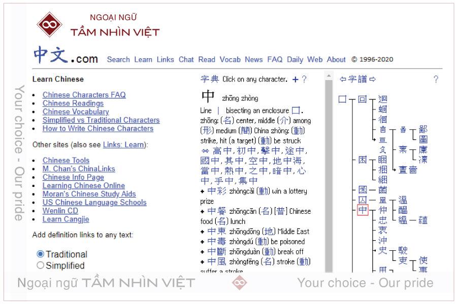 Website zhong wen học tiếng Trung
