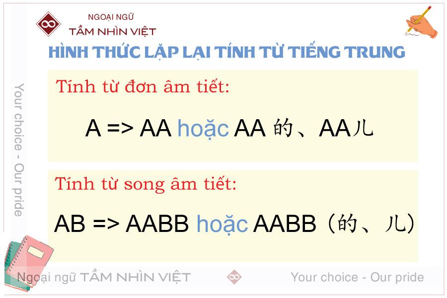 Hình thức lặp lại của tính từ tiếng Trung
