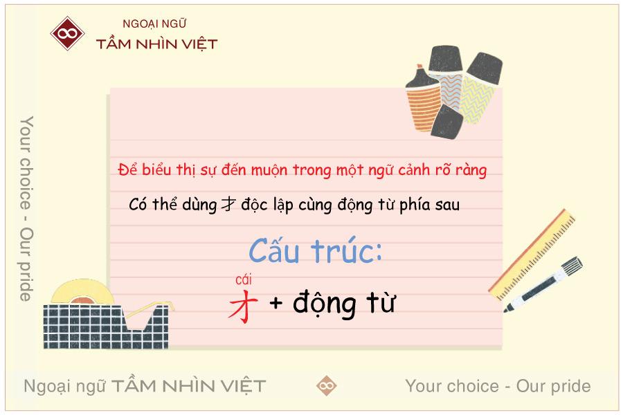 Dùng 才 / cai / biểu thị sự muộn màng trong tiếng Trung